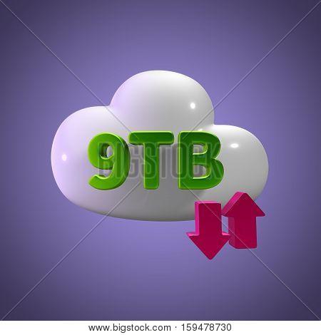 3D Rendering Cloud Data Upload Download illustration 9 TB Capacity