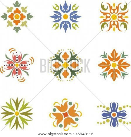 A set of 9 colorful floral designs and dingbats, vector series.