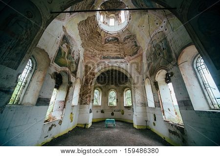 Inside abandoned Church of the Assumption of the Blessed Virgin in the village Basovka, Voronezh region, Russia
