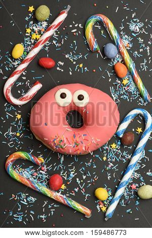 Pink Funny Surprised Donut