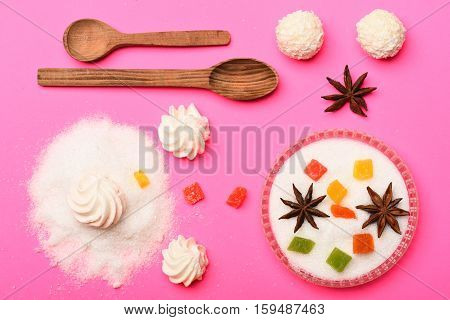 Sweets On Pink Background