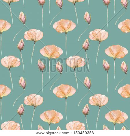 Seamless floral pattern with pink tender flowers hand drawn in watercolor on a dark green background