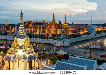 Wat Phra Kaew Temple of the Emerald Buddha Bangkok Thailand. Wat Phra Kaew is famous temple in Thailand.