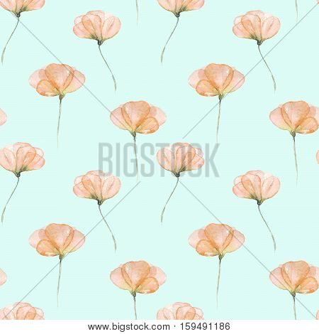Seamless floral pattern with pink tender flowers hand drawn in watercolor on a blue background