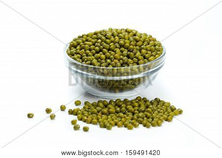 Mung Beans In Glass Cup On White Background