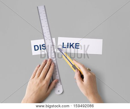 Dislike Hate Hands Cut Word Split Concept