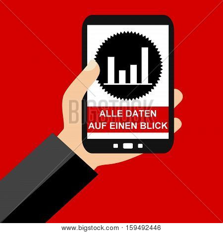 Hand holding Smartphone: All Data at a glance in german language - Flat Design