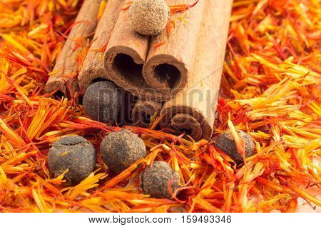 Macro View On Cinnamon, Peppercorn And Saffron