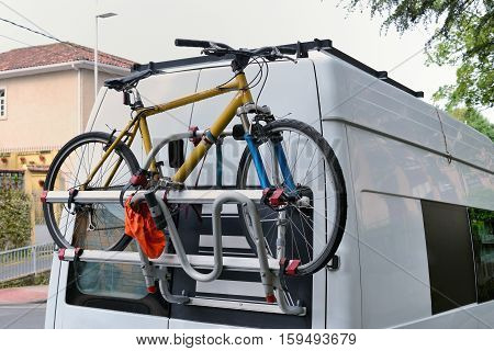 image of van with fastening for a bicycle