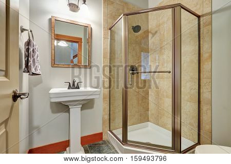 Close Up Of Glass Shower In A Bathroom