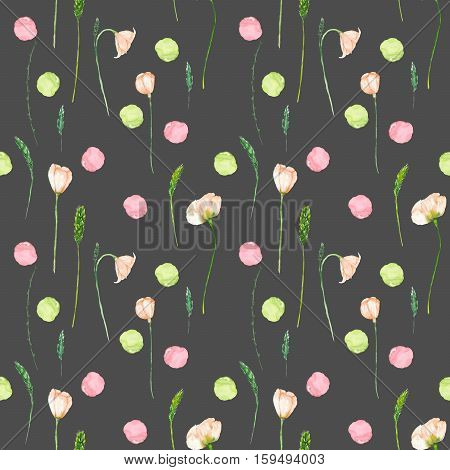 Seamless floral pattern with pink flowers and floral elements hand drawn in watercolor on a dark background