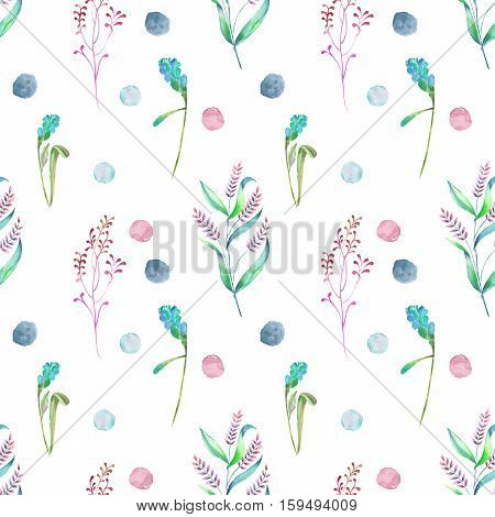 Seamless floral pattern with forest floral elements and watercolor spots hand drawn in watercolor on a white background