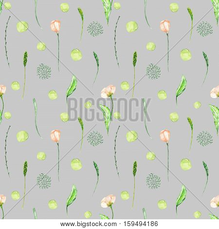 Seamless floral pattern with pink flowers and floral elements hand drawn in watercolor on a grey background