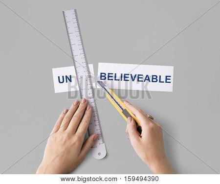 Impossible Unbelievable Hand Cut Word Split Concept