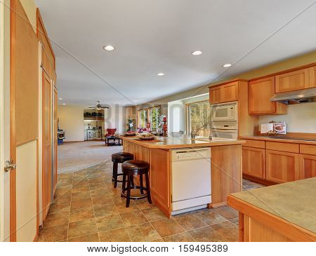 Kitchen Interior With Honey Cabinets And White Built-in Appliances