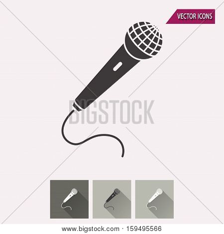 Microphone vector icon. Illustration isolated for graphic and web design.