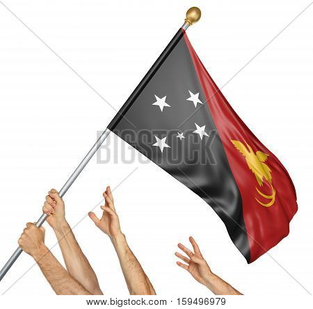 Team of peoples hands raising the Papua New Guinea national flag, 3D rendering isolated on white background