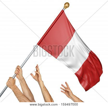 Team of peoples hands raising the Peru national flag, 3D rendering isolated on white background