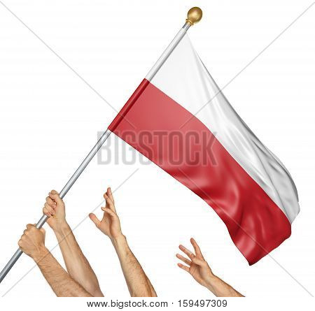 Team of peoples hands raising the Poland national flag, 3D rendering isolated on white background