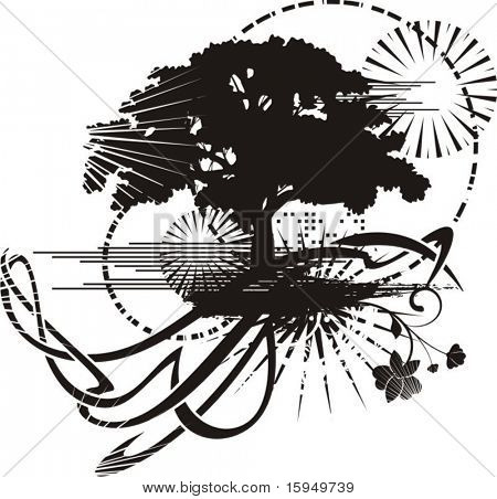 Abstract tree grunge background, vector illustration series.