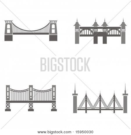 Vector illustrations of bridges.