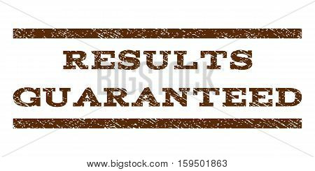 Results Guaranteed watermark stamp. Text tag between horizontal parallel lines with grunge design style. Rubber seal brown stamp with dust texture. Vector ink imprint on a white background.