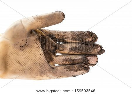 hand wearing an old dirty and broken pvc glove