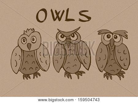 Vintage owls image of three funny birds