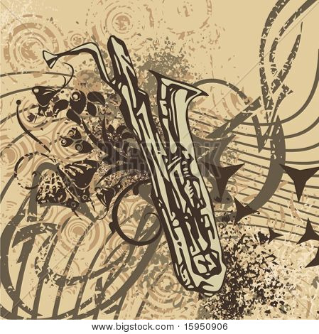 Grunge music instrument background with a saxophone.