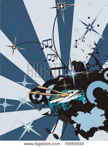 Grunge music instrument background with a tambourine.