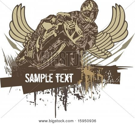 Vector grunge background with a hot rod motorcycle and a biker.