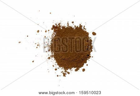 pile of coffee powder isolated on white background. Top view