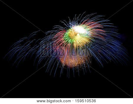 Golden orange amazing fireworks isolated in dark background close up with the place for text, Malta fireworks festival, 4 of July, Independence day, New Year, explode
