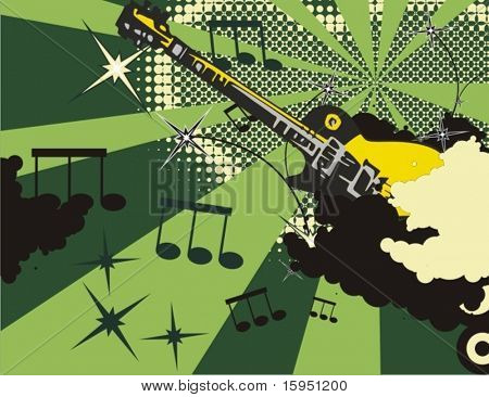 Grunge music instrument background with an electric.