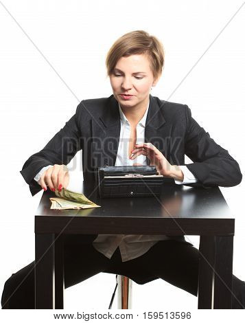 business Woman in glasses taking money from purse