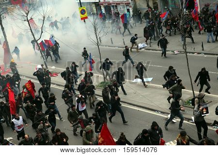 ISTANBUL,TURKEY-MAR 12: Clashes in Istanbul took place after the funeral of young Gezi victim Berkin Elvan on March 12, 2014 in Istanbul,Turkey.
