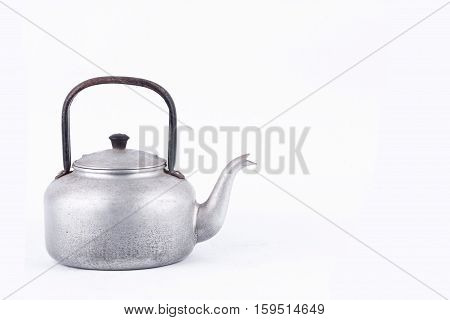 old vintage retro Kettle on white background drink isolated . Which, kettle made of aluminum materials.