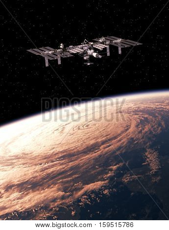 International Space Station Exploring A Hurricane On The Earth. 3D Illustration.