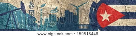 Energy and Power icons set. Header banner with Cuba flag. Sustainable energy generation and heavy industry. Concrete textured