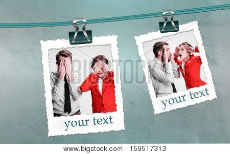 The young couple with different emotions during conflict on gray background. Collage