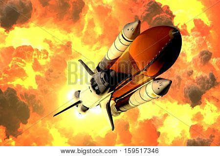 Space Shuttle Takes Off In The Clouds Of Fire. 3D Illustration.