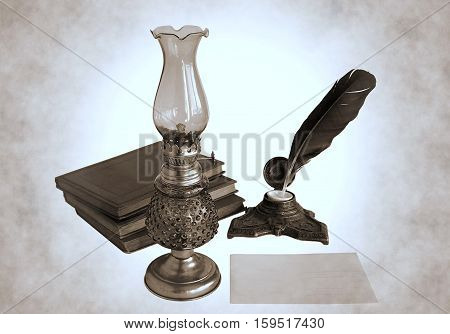 Blank paper card oil lamp and inkwell with a quill pen as a concept of greetings on holidays. Photos with the effect of duotone.