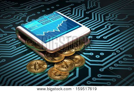 Concept Of Digital Wallet And Bitcoins On Printed Circuit Board. Bitcoins Spill Out Of The Pink Curved Smartphone. 3D Illustration.