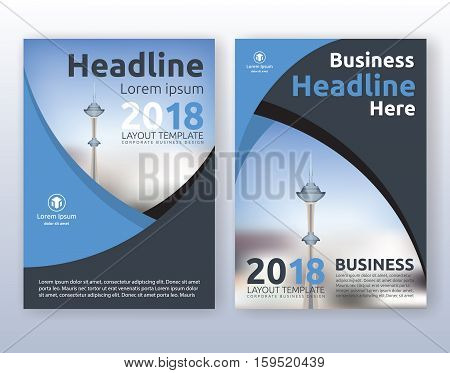 Multipurpose corporate business flyer layout design. Suitable for flyer brochure book cover and annual report. blue and black color scheme in A4 size layout template background with bleeds.