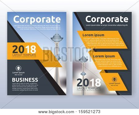 Multipurpose corporate business flyer layout design. Suitable for flyer brochure book cover and annual report. Yellow and black color scheme in A4 size layout template background with bleeds.