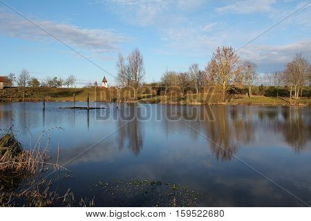 Quiet lake / Landscape with lake .
