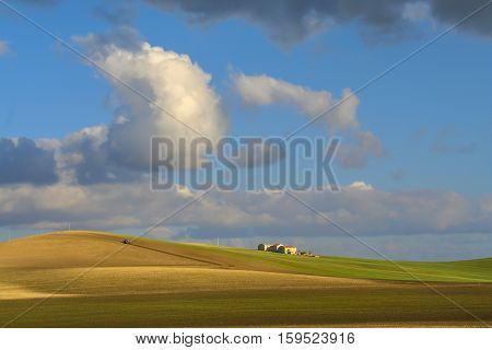 HILLY RURAL LANDSCAPE .Between Apulia and Basilicata. Agriculture field with tractor dominated by clouds. -ITALY-