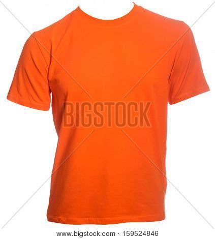 Orange T-Shirt template isolated on a white background