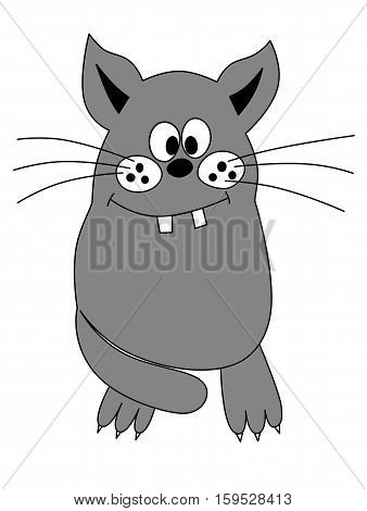 Illustration of a funny playful gray cat