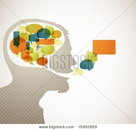 Abstract speaker silhouette with bubbles in the head